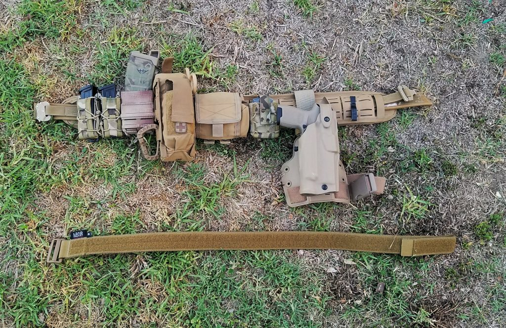 A war belt with lots of FDE (Flat Dark Earth).